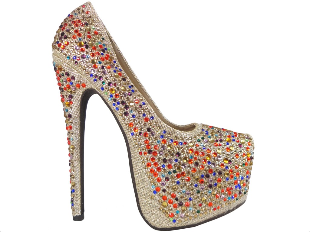 Gold high heels on a platform with zircons shoes - 1