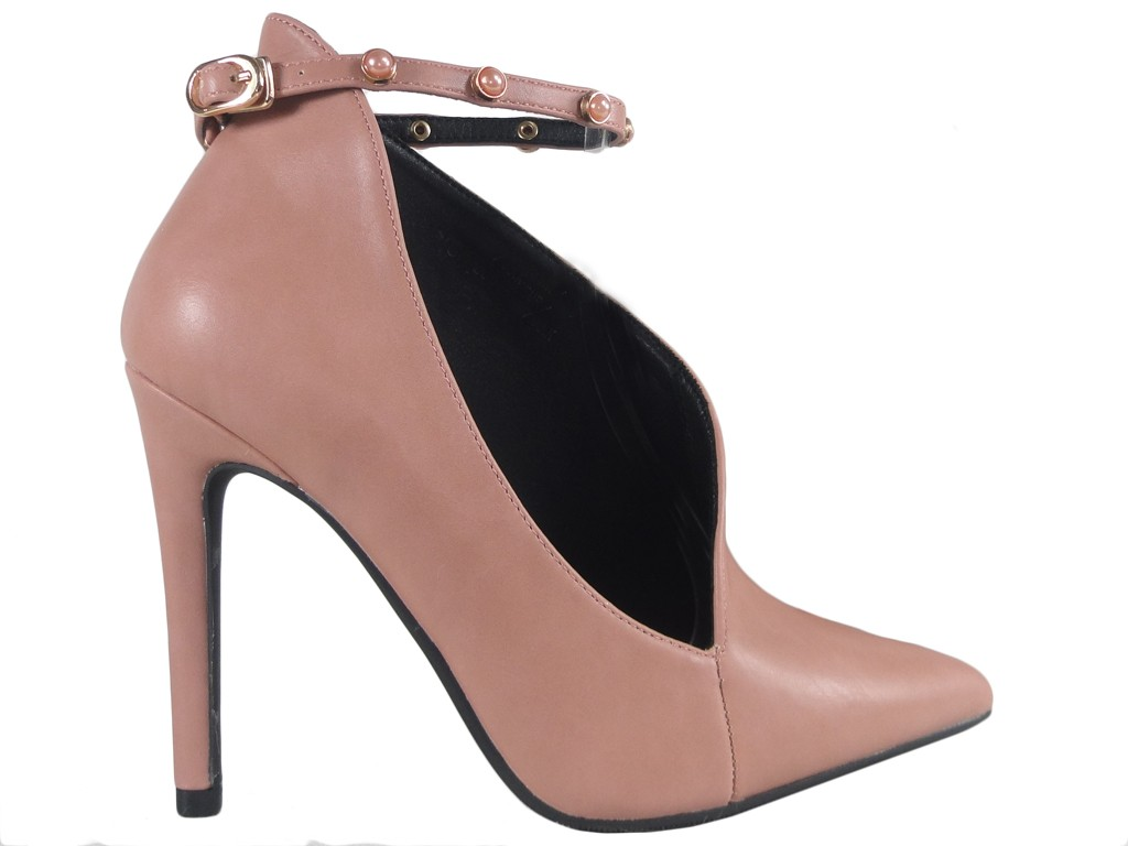 Pink women's boots with cut-out strap - 1