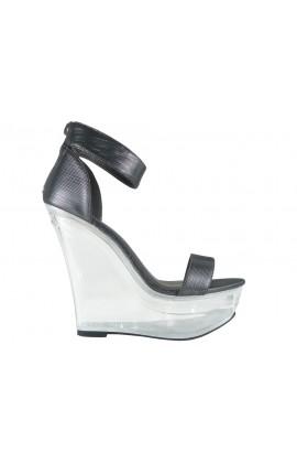 Szare sandały na koturnie przeźroczyste z paskiem