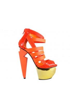 Neonowe szpilki na platformie sandały damskie