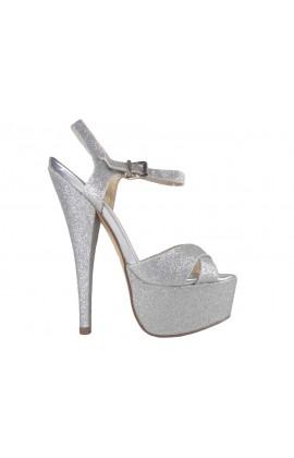 Srebrne brokatowe sandały na szpilce
