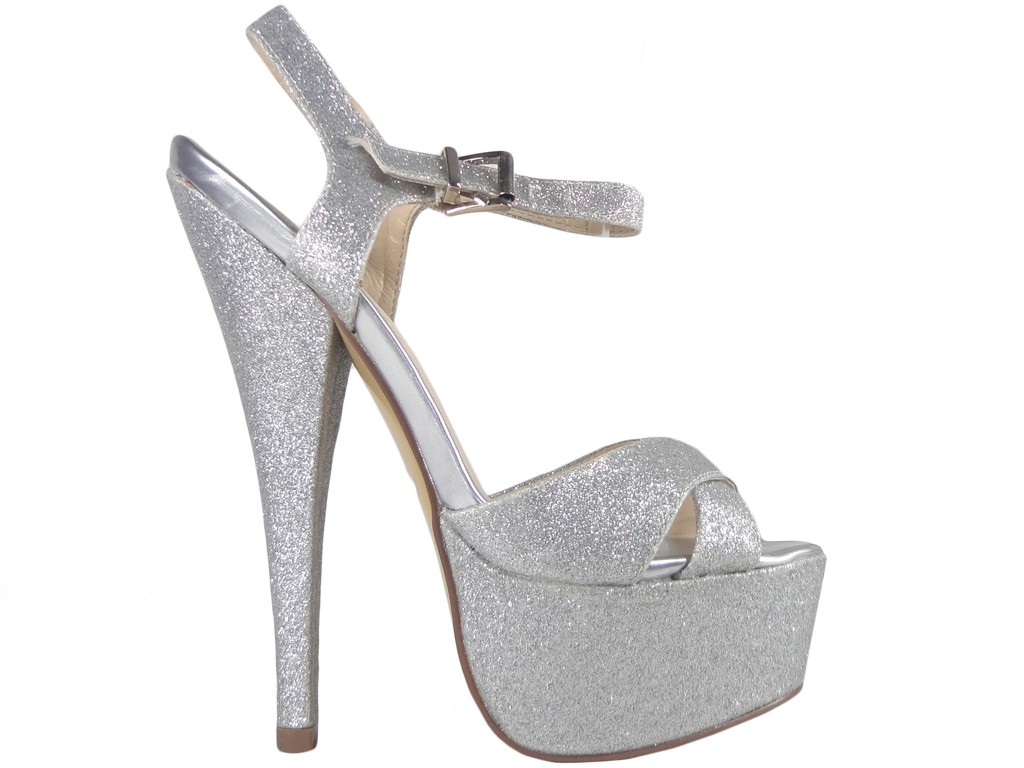 Silver glitter sandals on pins - 1