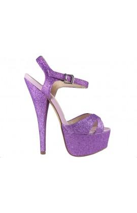 Fioletowe brokatowe sandały na szpilce