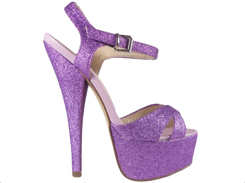 Violet brocade sandals on pins - 1