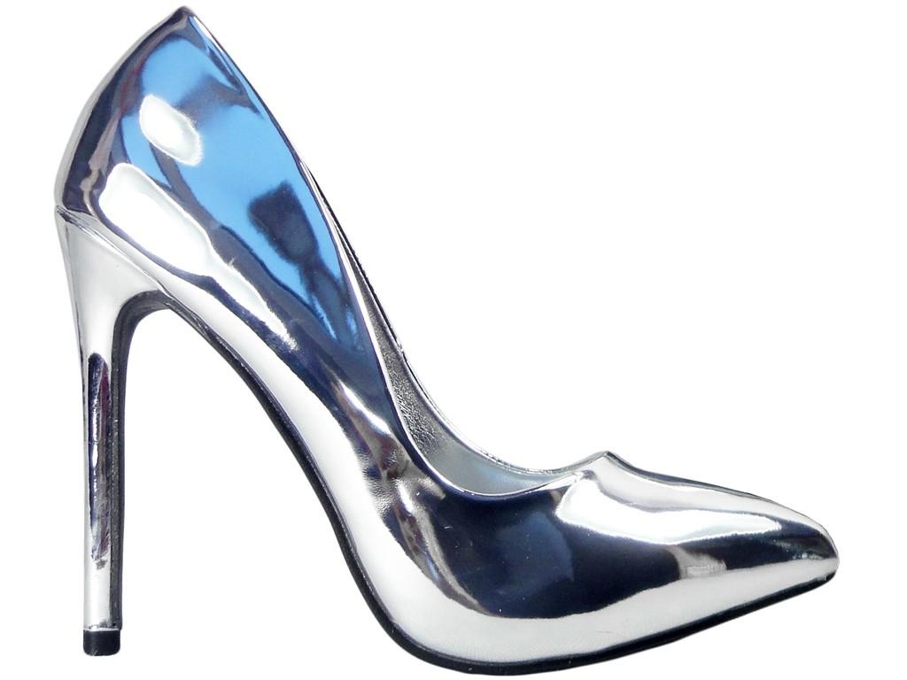 Srebrne szpilki smukłe buty damskie wysokie 38