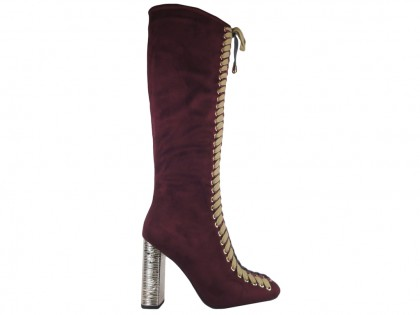 Burgundy boots on a suede pole in front of the knee - 1
