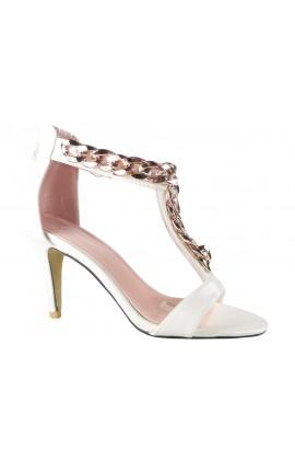 Białe sandały na szpilce z paskiem w kostce