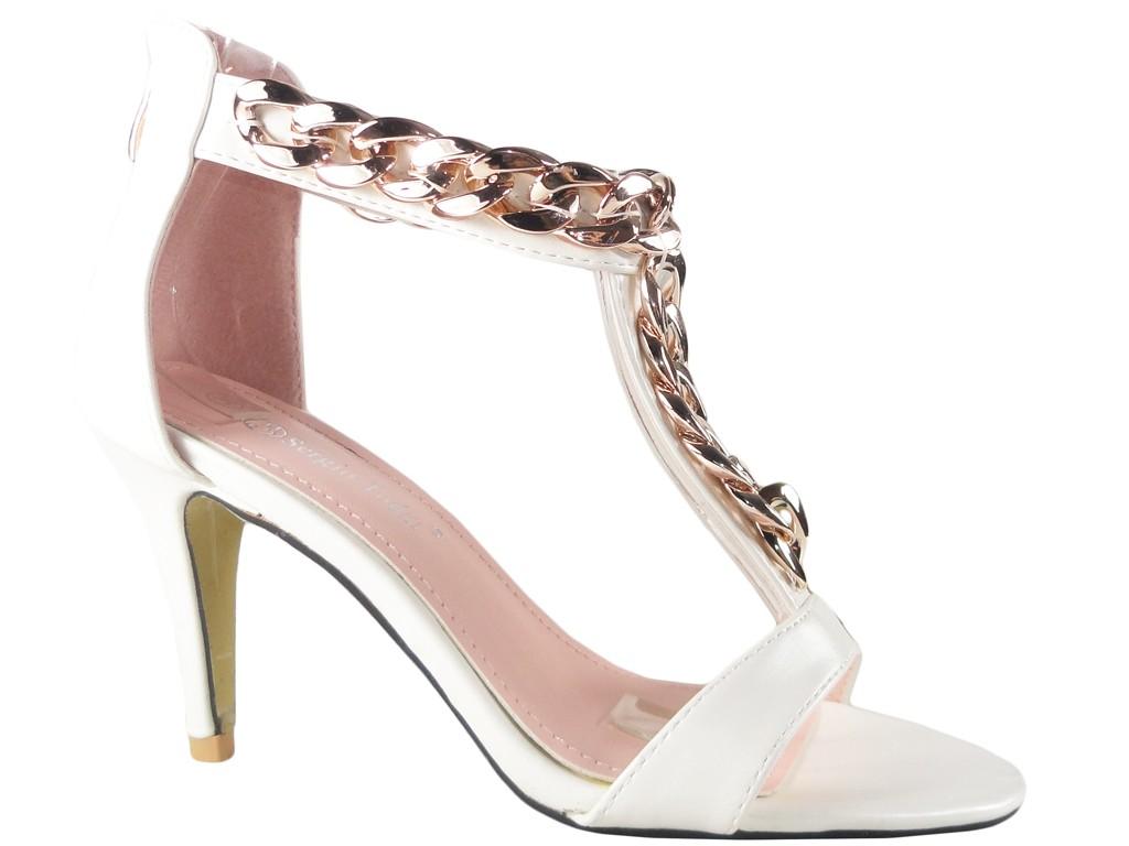 Weiße Sandalen auf hohem Absatz mit Knöchelriemen - 1