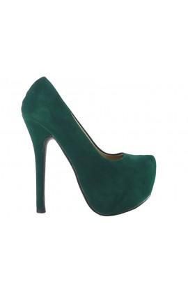 Zielone szpilki na platformie zamszowe buty