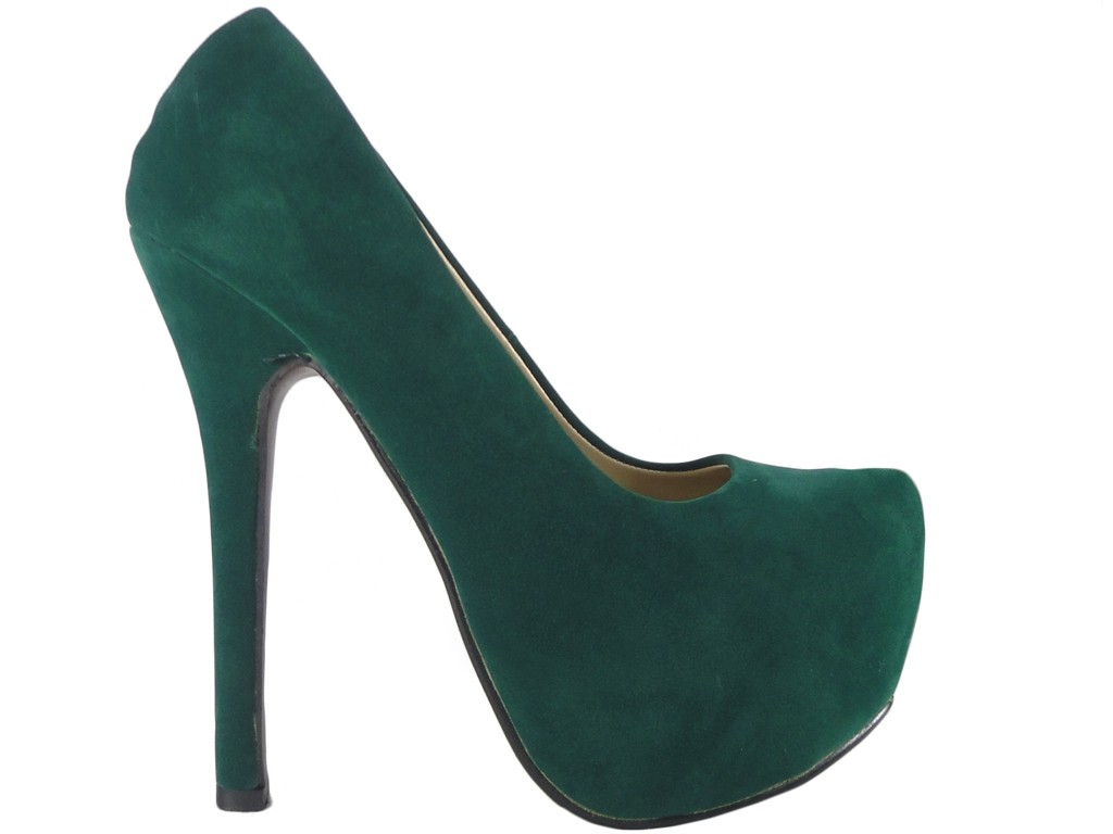 Green pins on the platform suede boots - 1