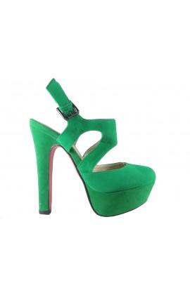 Zielone zamszowe sandały na słupku z paskiem