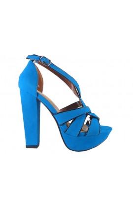 Niebieskie sandały na słupku z paskiem w kostce