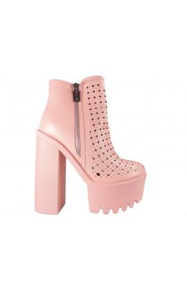 Różowe botki ażurowe stylowe buty damskie