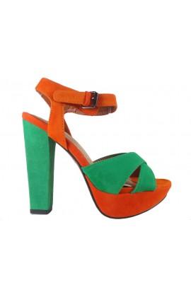 Zielono pomarańczowe sandały na słupku