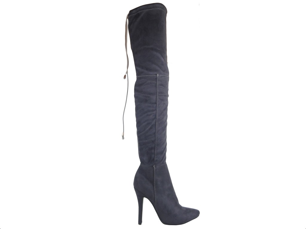 Cossacks by the knee suede boots - 1