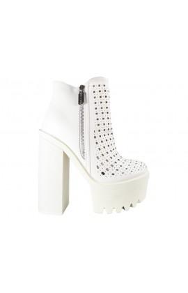 Białe botki ażurowe stylowe buty damskie