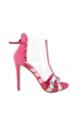 Różowe sandały damskie z przezroczystymi paskami