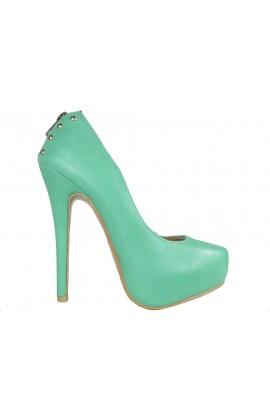 Zielone szpilki matowe buty na platformie