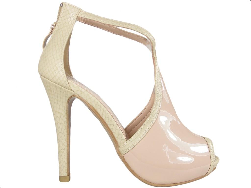 Beige women's ankle strap sandals - 1
