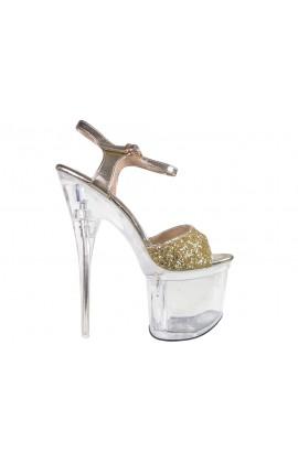 Złote brokatowe przeźroczyste szpilki szklanki