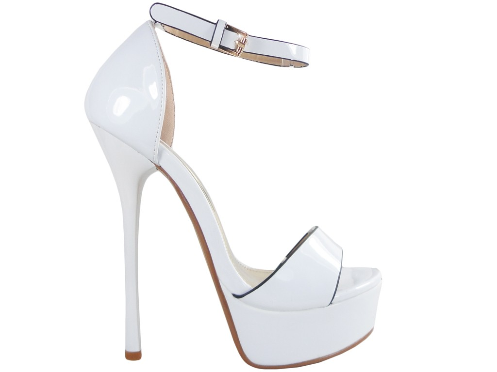 Diced strap pins white wedding sandals - 1