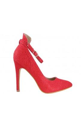Buty czerwone szpilki z paskiem brokatowe
