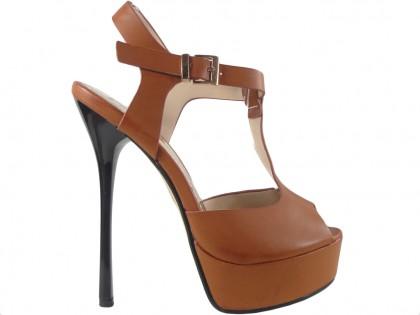 Outlet barna magas sarkú cipő bokaszíjjal - 1