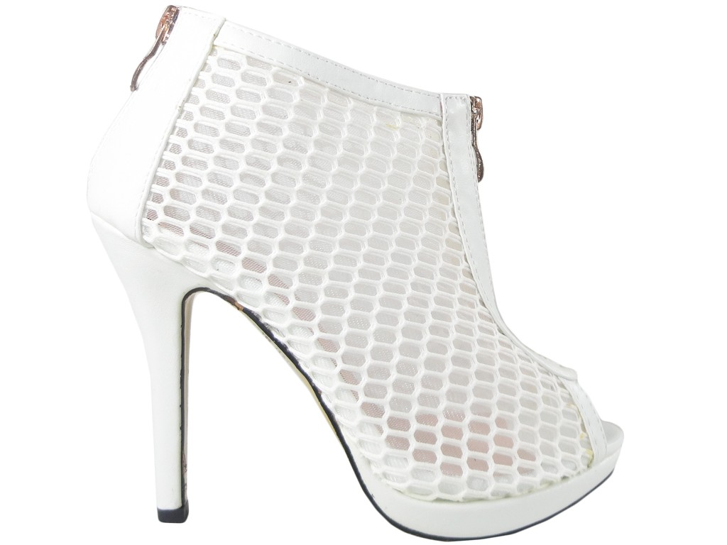 b7f7696d8a061 Białe ażurowe sandały botki damskie buty szpilki - KOKIETKI