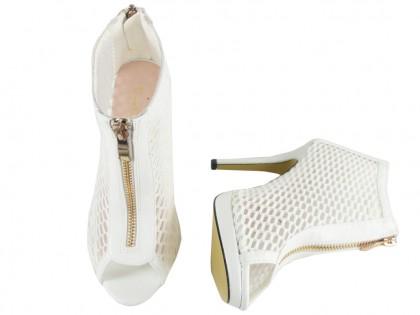 Białe ażurowe sandały botki damskie buty szpilki