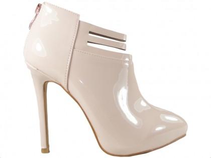 4c31529d0e74d Beżowe botki damskie buty na szpilce ...