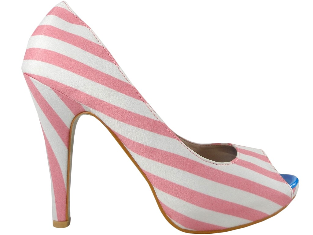 White pink striped ladies' pins on the platform - 1