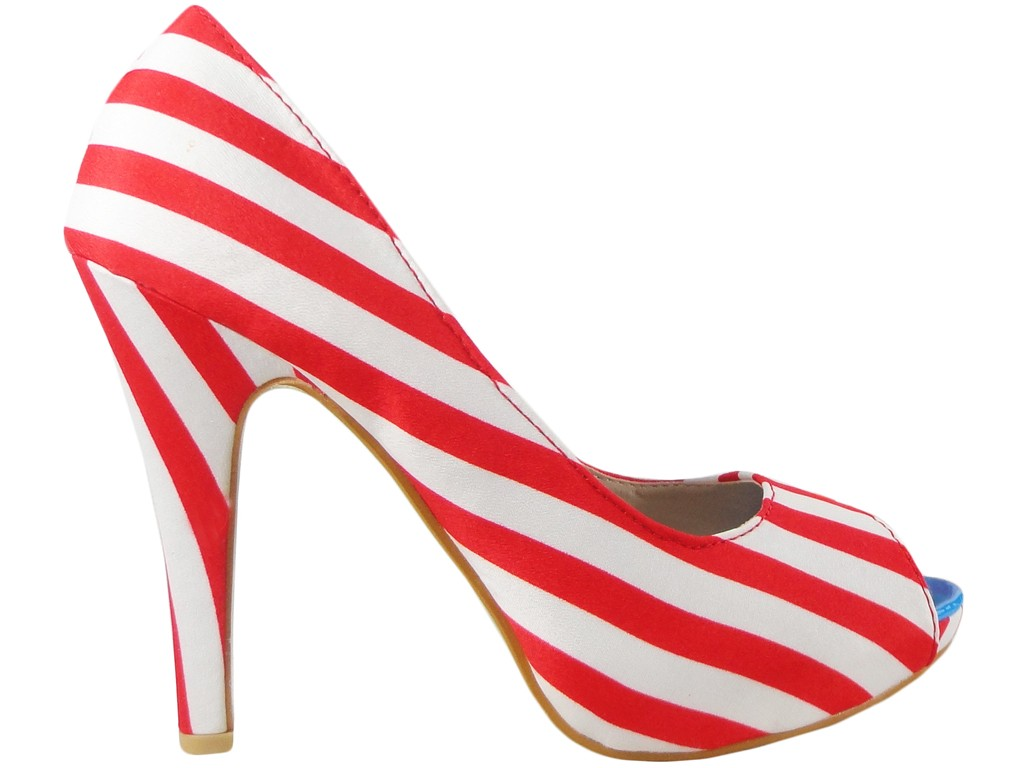 White striped women's pins on the platform - 1