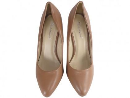 Bézs színű magas sarkú cipő átlátszó üvegékkel - 2