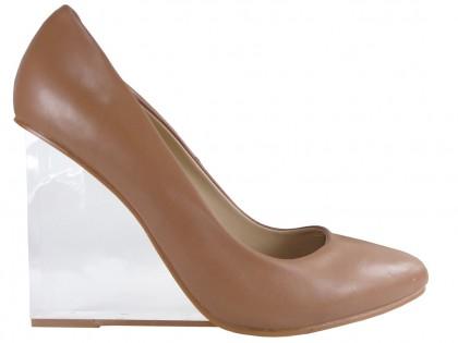 Bézs színű magas sarkú cipő átlátszó üvegékkel - 1