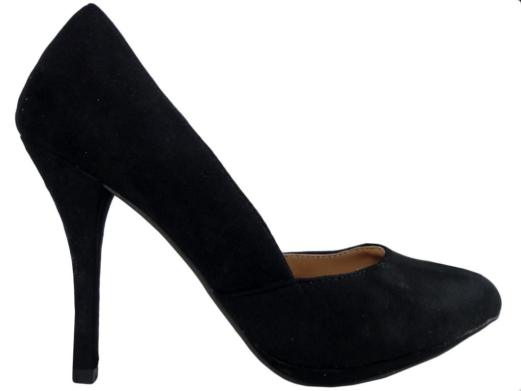 Czarne szpilki zamszowe buty damskie