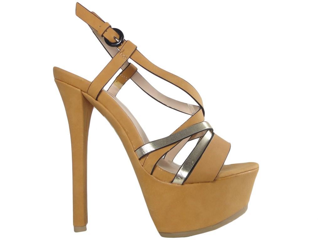 Sandały na szpilce i platformie buty damskie