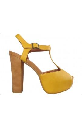 Żółte zamszowe sandały na platformie buty na obcasie