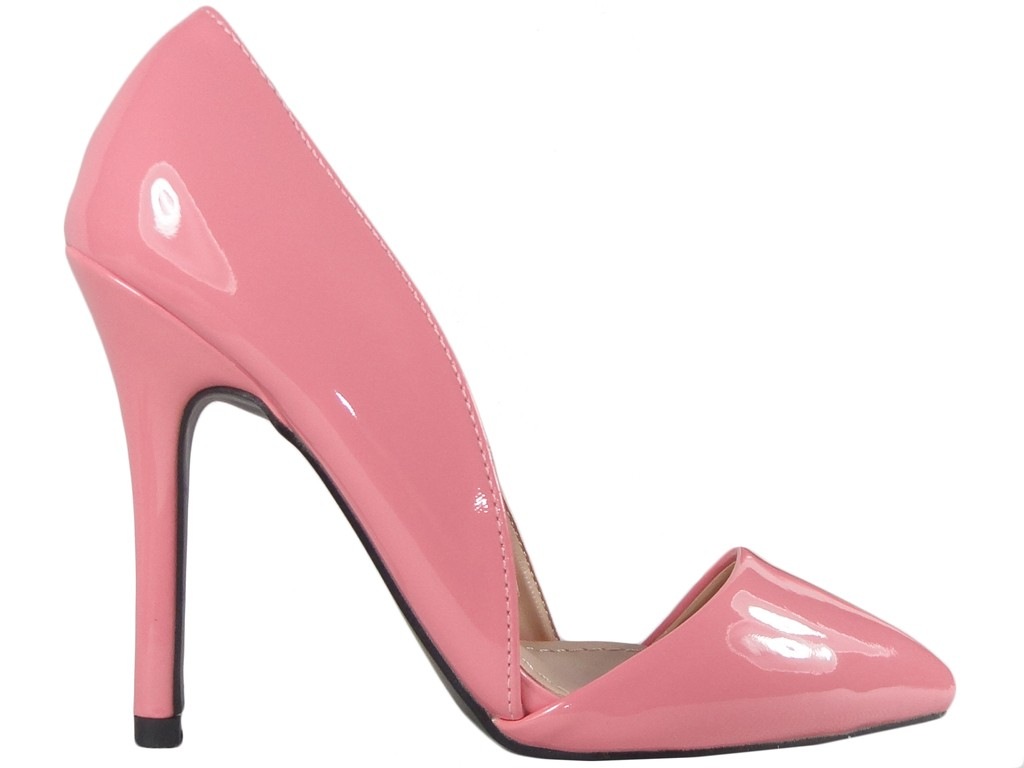 Pink pink pins with cut-out ladies' shoes powder pink - 1