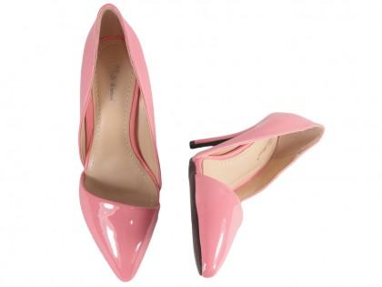 Różowe szpilki z wycięciem buty damskie