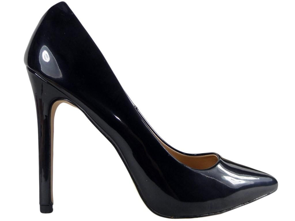 Czarne szpilki buty damskie czółenka na szpilce