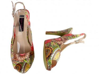 Sandałki w kolorowe kwiaty szpilki damskie odkryty palec