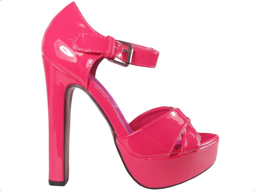 Różowe sandały na słupku zgrabne buty damskie