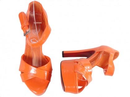 Pomarańczowe sandały na słupki letnie buty damskie