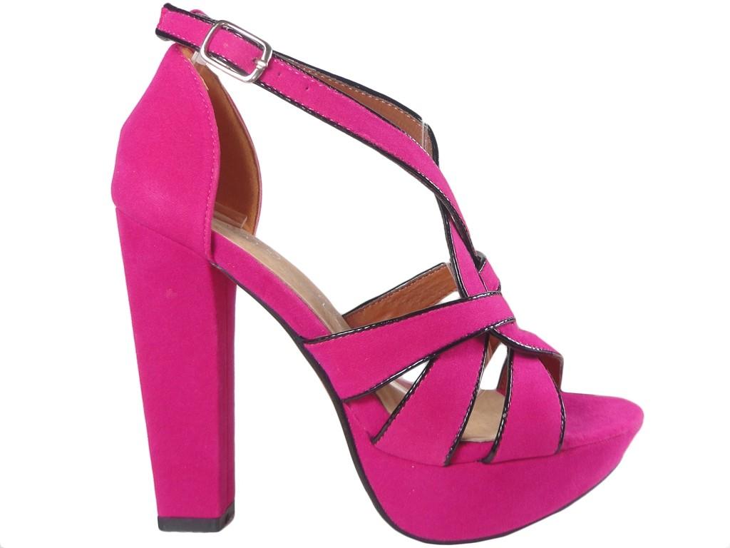 4d526c8197292b Różowe sandały na słupku letnie zamszowe - KOKIETKI