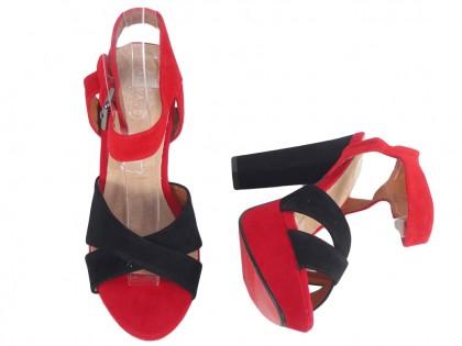 Czerwono czarne sandały na platformie buty na słupku