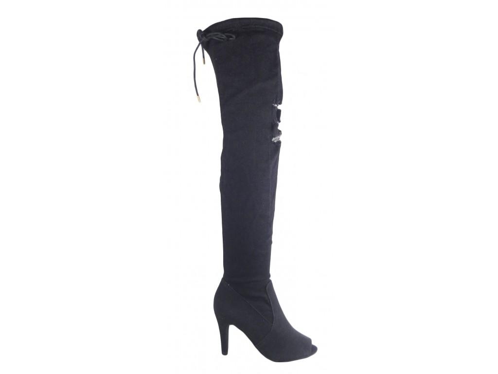 Czarne jeansowe kozaki buty letnie z odkrytym palcem