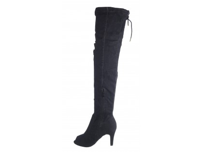 Black denim boots summer boots with open toe - 2