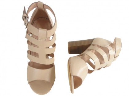 Beige sandals on the pole stable women's shoes - 2