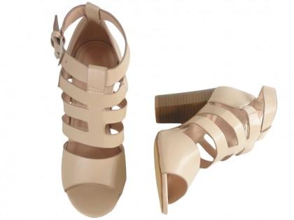 Beżowe sandały na słupku stabilne buty damskie