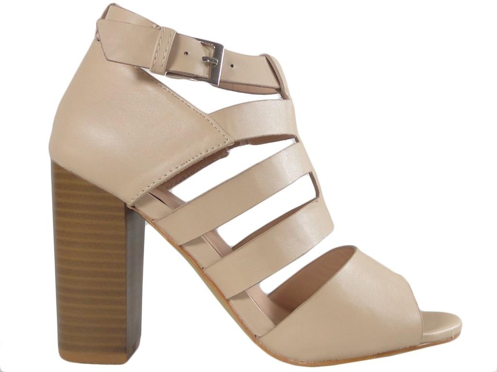 Beżowe sandały na słupku stabilne buty damskie - 1